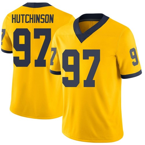 Men's Aidan Hutchinson Michigan Wolverines Limited Brand Jordan Maize Football College Jersey