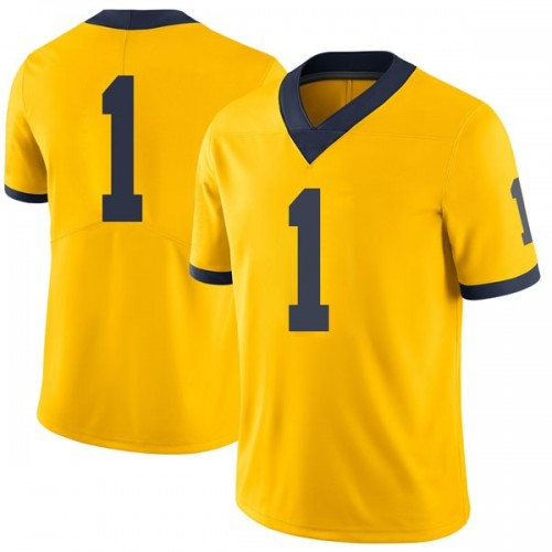 Men's Ambry Thomas Michigan Wolverines Limited Brand Jordan Maize Football College Jersey