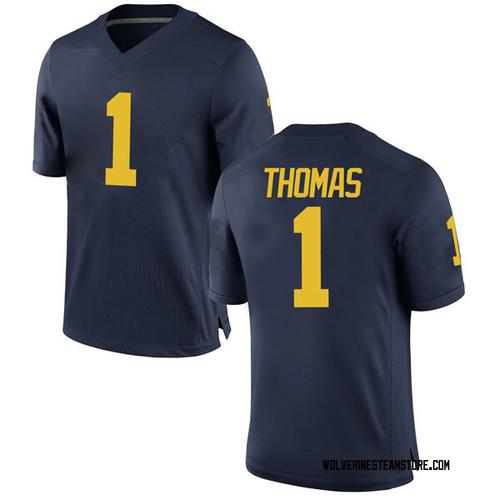 Men's Ambry Thomas Michigan Wolverines Replica Navy Brand Jordan Football College Jersey