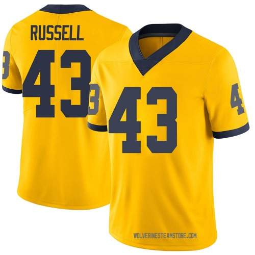 Men's Andrew Russell Michigan Wolverines Limited Brand Jordan Maize Football College Jersey