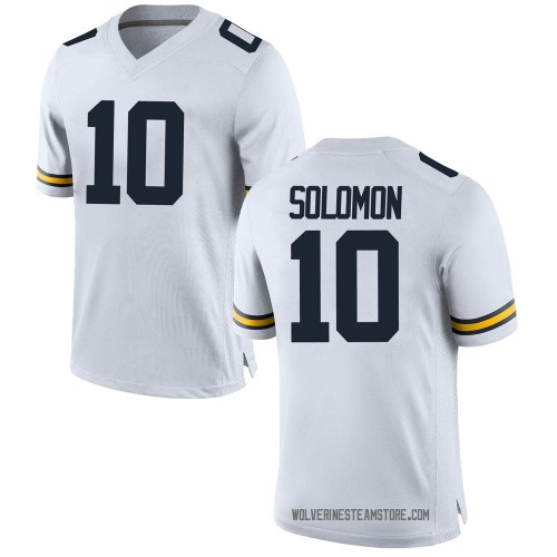 Men's Anthony Solomon Michigan Wolverines Replica White Brand Jordan Football College Jersey