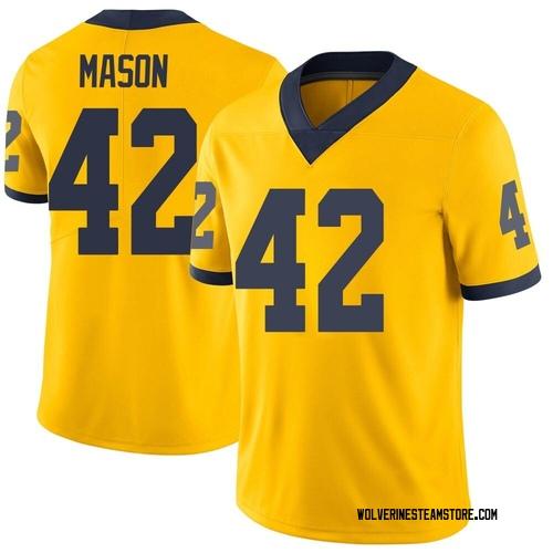 Men's Ben Mason Michigan Wolverines Limited Brand Jordan Maize Football College Jersey