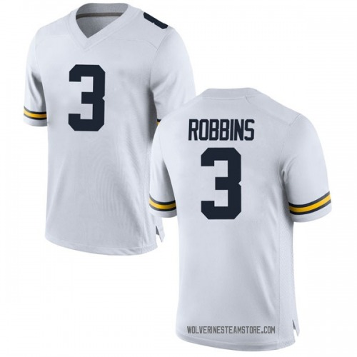Men's Brad Robbins Michigan Wolverines Replica White Brand Jordan Football College Jersey