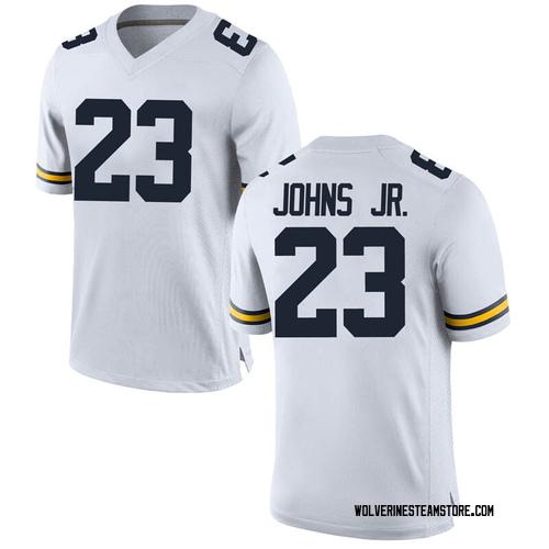 Men's Brandon Johns Jr. Michigan Wolverines Game White Brand Jordan Football College Jersey