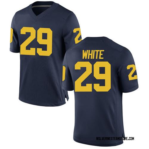 Men's Brendan White Michigan Wolverines Game White Brand Jordan Navy Football College Jersey