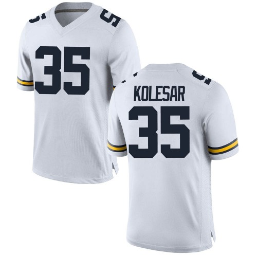 Men's Caden Kolesar Michigan Wolverines Replica White Brand Jordan Football College Jersey