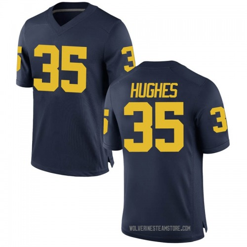 Men's Casey Hughes Michigan Wolverines Game Navy Brand Jordan Football College Jersey