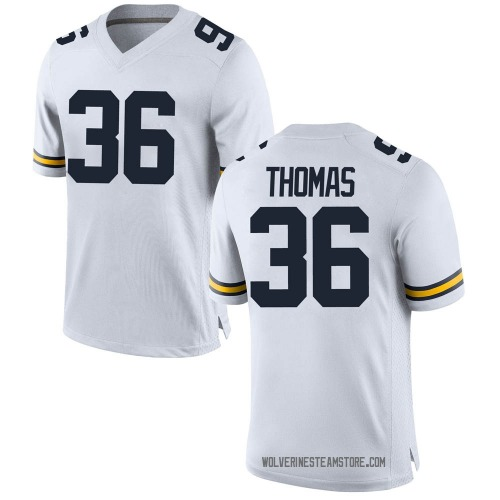 Men's Charles Thomas Michigan Wolverines Game White Brand Jordan Football College Jersey