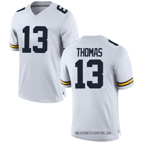 Men's Charles Thomas Michigan Wolverines Replica White Brand Jordan Football College Jersey