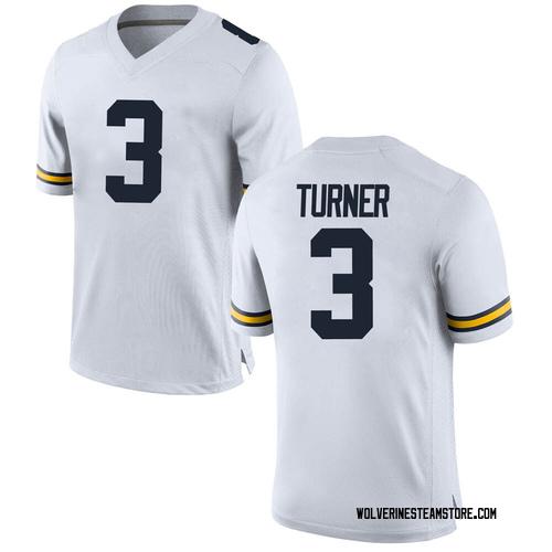 Men's Christian Turner Michigan Wolverines Game White Brand Jordan Football College Jersey