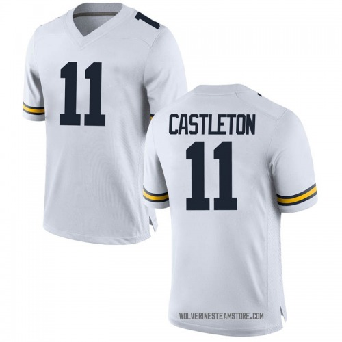 Men's Colin Castleton Michigan Wolverines Game White Brand Jordan Football College Jersey