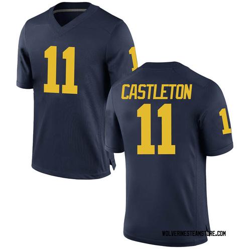 Men's Colin Castleton Michigan Wolverines Replica Navy Brand Jordan Football College Jersey