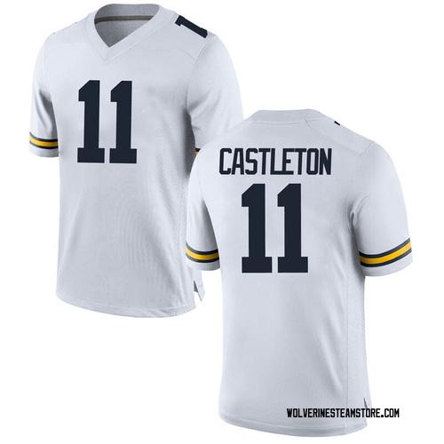 Men's Colin Castleton Michigan Wolverines Replica White Brand Jordan Football College Jersey