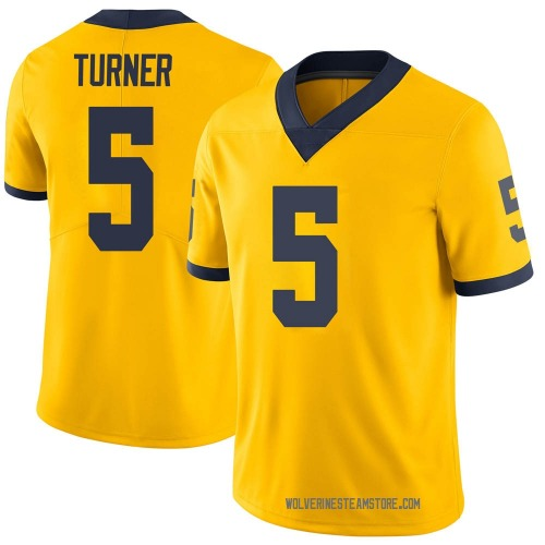 Men's DJ Turner Michigan Wolverines Limited Brand Jordan Maize Football College Jersey