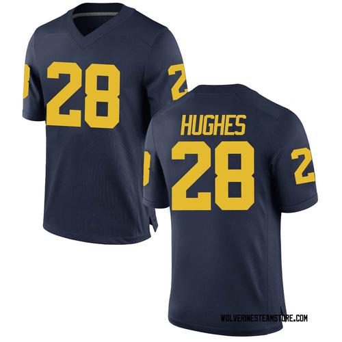 Men's Danny Hughes Michigan Wolverines Game Navy Brand Jordan Football College Jersey