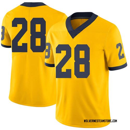 Men's Danny Hughes Michigan Wolverines Limited Brand Jordan Maize Football College Jersey