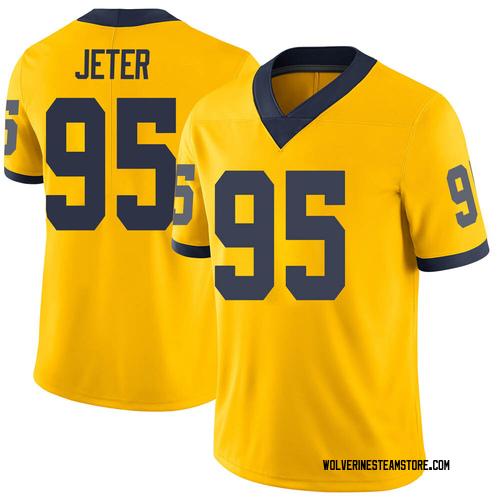 Men's Donovan Jeter Michigan Wolverines Limited Brand Jordan Maize Football College Jersey