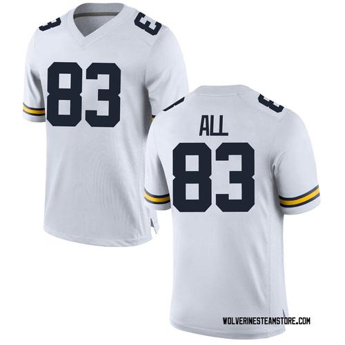 Men's Erick All Michigan Wolverines Replica White Brand Jordan Football College Jersey