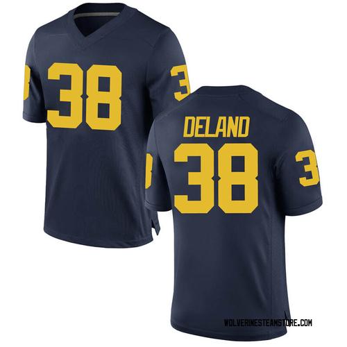Men's Ethan Deland Michigan Wolverines Game Navy Brand Jordan Football College Jersey