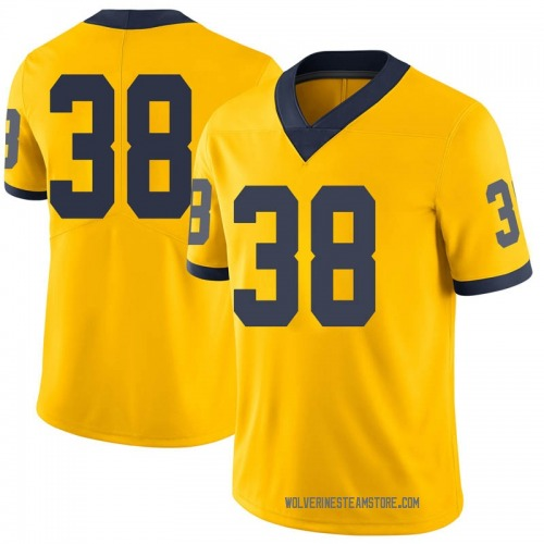 Men's Ethan Deland Michigan Wolverines Limited Brand Jordan Maize Football College Jersey