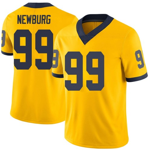 Men's Gabe Newburg Michigan Wolverines Limited Brand Jordan Maize Football College Jersey