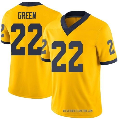 Men's Gemon Green Michigan Wolverines Limited Green Brand Jordan Maize Football College Jersey