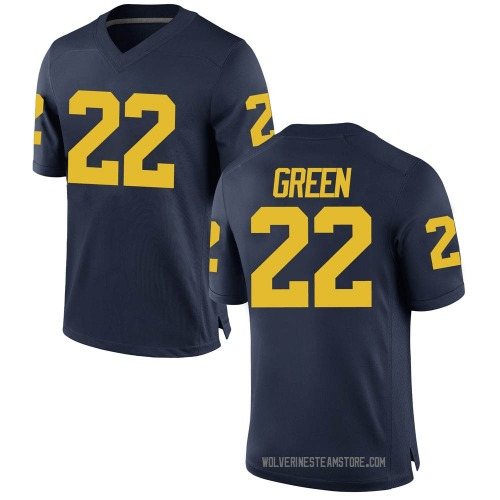 Men's Gemon Green Michigan Wolverines Replica Green Brand Jordan Navy Football College Jersey