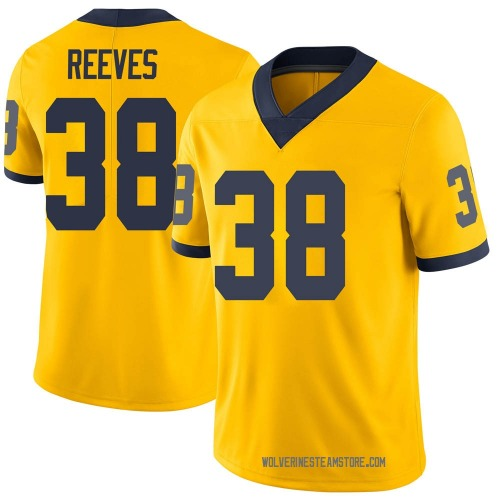 Men's Geoffrey Reeves Michigan Wolverines Limited Brand Jordan Maize Football College Jersey