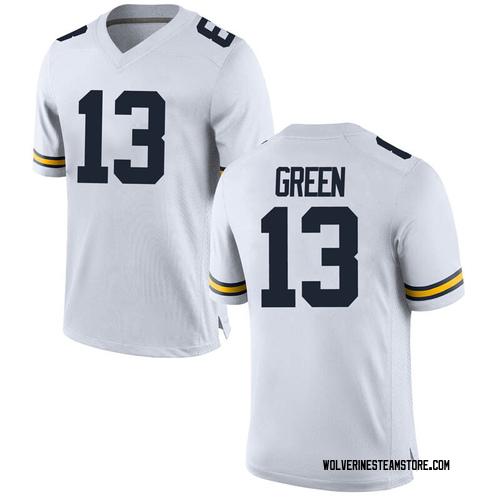 Men's German Green Michigan Wolverines Replica White Brand Jordan Football College Jersey