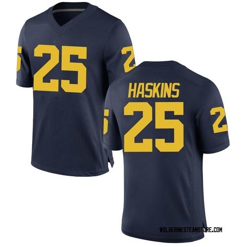 Men's Hassan Haskins Michigan Wolverines Game Navy Brand Jordan Football College Jersey