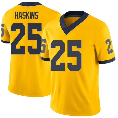 Men's Hassan Haskins Michigan Wolverines Limited Brand Jordan Maize Football College Jersey
