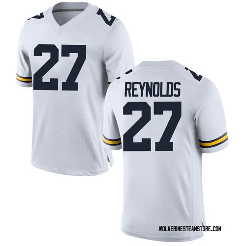 Men's Hunter Reynolds Michigan Wolverines Game White Brand Jordan Football College Jersey