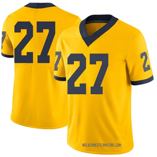 Men's Hunter Reynolds Michigan Wolverines Limited Brand Jordan Maize Football College Jersey