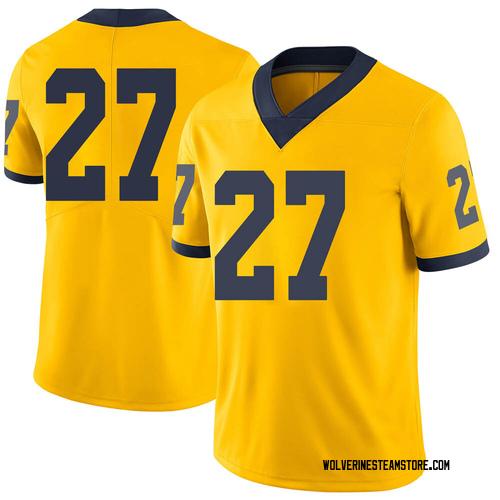 Men's Hunter Reynolds Michigan Wolverines Limited Brand Jordan Maize Football College Jersey