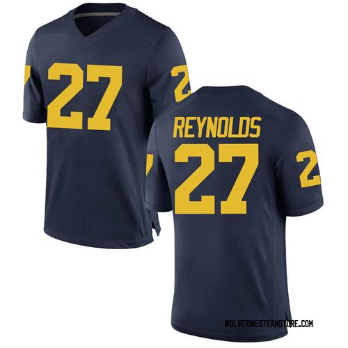 Men's Hunter Reynolds Michigan Wolverines Replica Navy Brand Jordan Football College Jersey