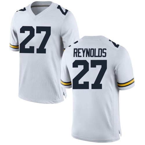Men's Hunter Reynolds Michigan Wolverines Replica White Brand Jordan Football College Jersey