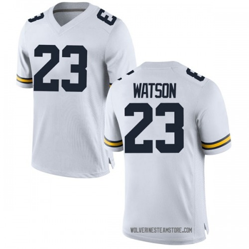 Men's Ibi Watson Michigan Wolverines Replica White Brand Jordan Football College Jersey