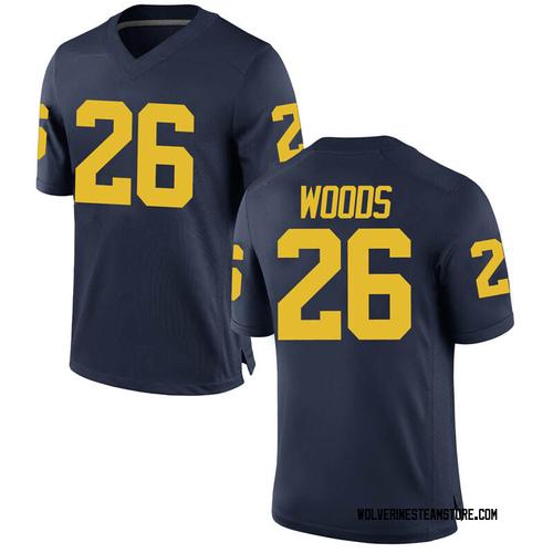 Men's J'Marick Woods Michigan Wolverines Game Navy Brand Jordan Football College Jersey