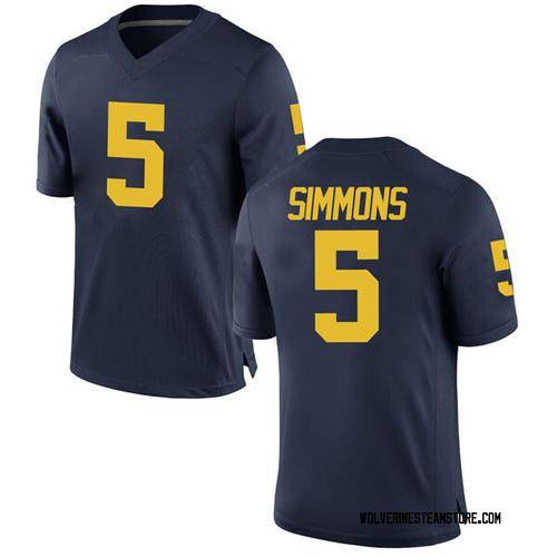 Men's Jaaron Simmons Michigan Wolverines Game Navy Brand Jordan Football College Jersey