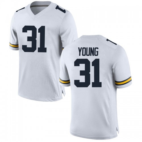 Men's Jack Young Michigan Wolverines Game White Brand Jordan Football College Jersey