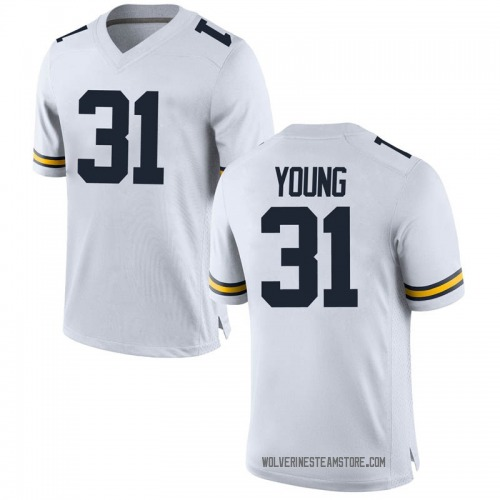Men's Jack Young Michigan Wolverines Replica White Brand Jordan Football College Jersey
