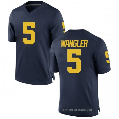 Men's Jared Wangler Michigan Wolverines Replica Navy Brand Jordan Football College Jersey
