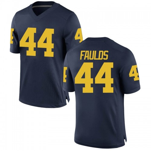 Men's Jaron Faulds Michigan Wolverines Game Navy Brand Jordan Football College Jersey