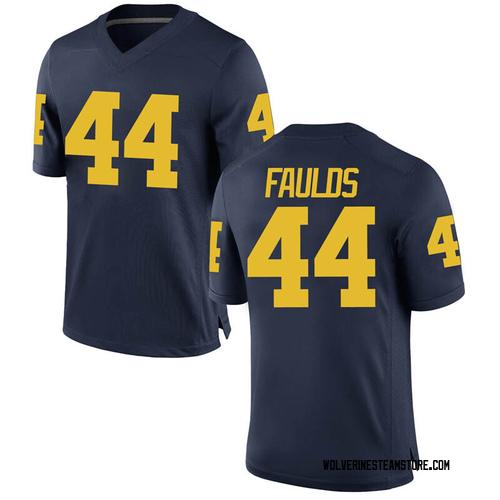 Men's Jaron Faulds Michigan Wolverines Replica Navy Brand Jordan Football College Jersey