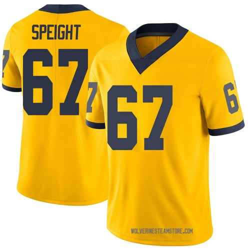 Men's Jess Speight Michigan Wolverines Limited Brand Jordan Maize Football College Jersey