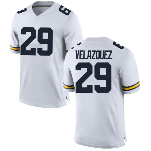 Men's Joey Velazquez Michigan Wolverines Game White Brand Jordan Football College Jersey