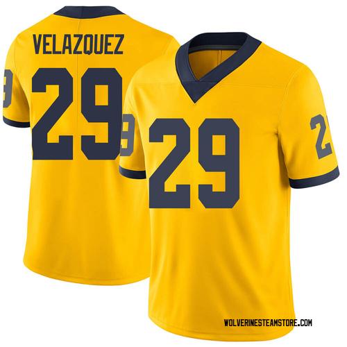 Men's Joey Velazquez Michigan Wolverines Limited Brand Jordan Maize Football College Jersey