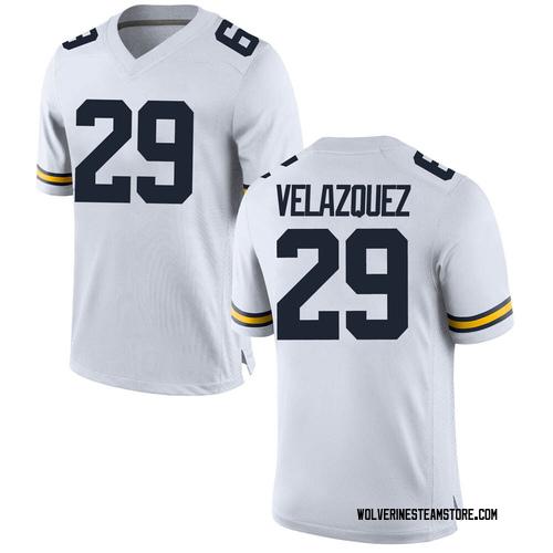 Men's Joey Velazquez Michigan Wolverines Replica White Brand Jordan Football College Jersey