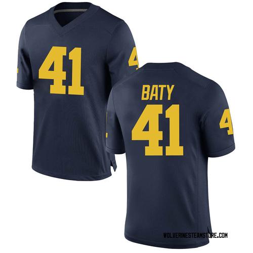 Men's John Baty Michigan Wolverines Game Navy Brand Jordan Football College Jersey