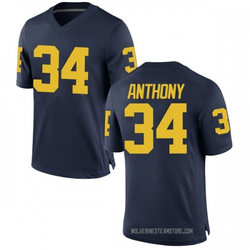 Men's Jordan Anthony Michigan Wolverines Game Navy Brand Jordan Football College Jersey